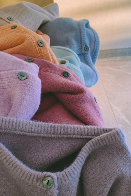 W重工花染!神仙紫lime貝殼扣打底加厚針織開衫毛衣外套*7色ML