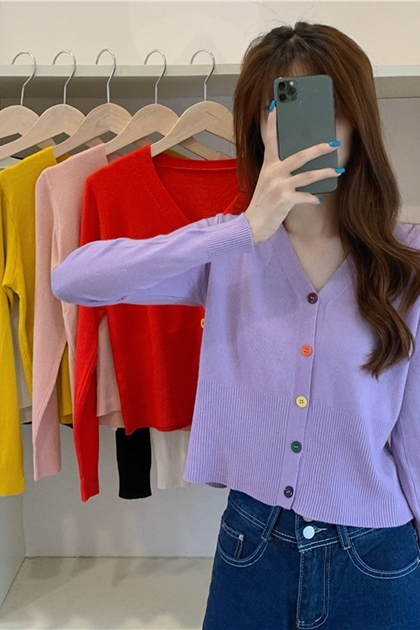 彩色釦V領針織外套*6色