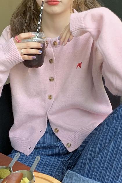 刺繡可愛蝴蝶結針織外套*3色