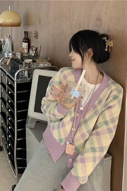 慵懶風粉嫩紫色菱格紋長袖針織毛線外套