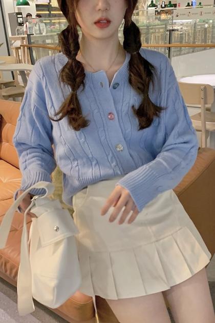 W復古彩色釦麻花針織衫外套*2色