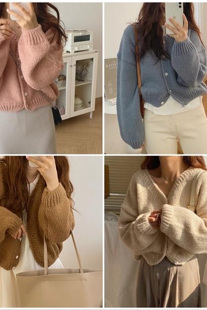 W寬鬆顯瘦針織毛衣外套*4色