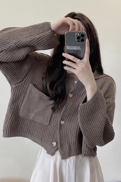慵懶口袋針織衫外套*3色
