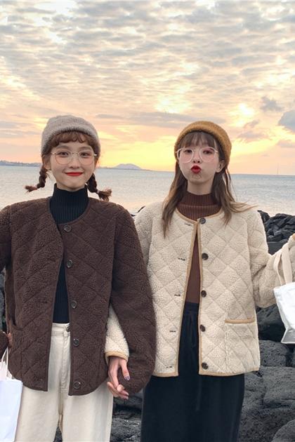 保暖鋪棉羊羔毛開釦外套*2色