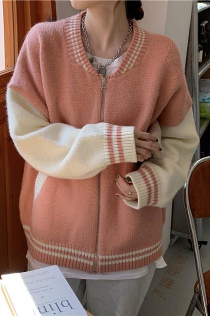 寬鬆粗勾織毛衣配色外套*2色
