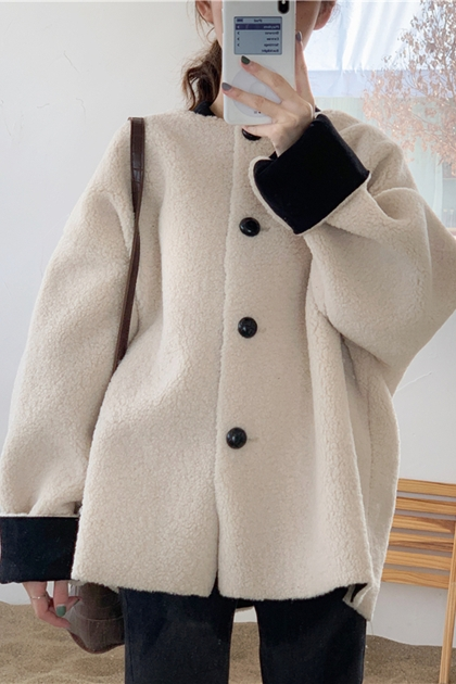 寬鬆保暖毛絨外套反袖撞色長袖外套*米