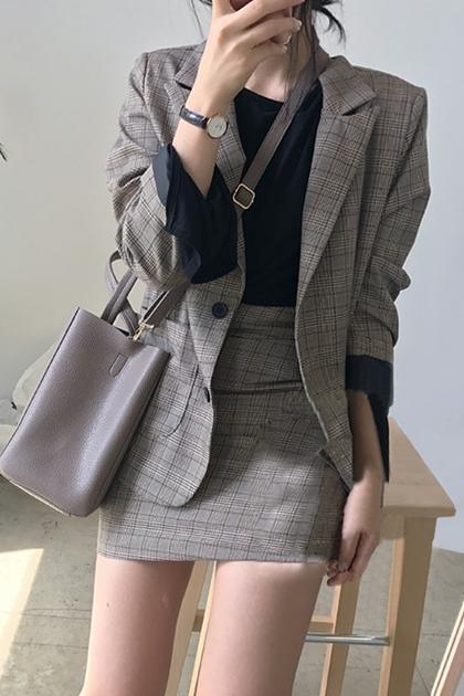 Chic英倫時尚西裝外套套裝+高腰短裙*2色SM