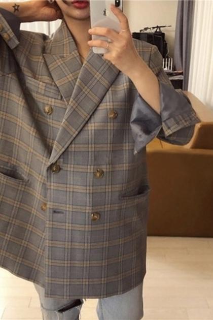 復古慵懶雙排釦格紋撞色西裝外套*2色