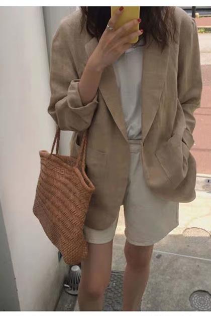 復古大地系遮陽防曬棉麻西裝外套*S-XL