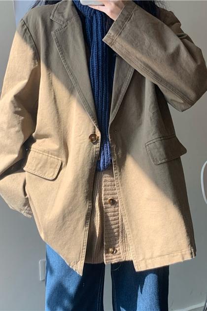 復古奶茶系斜紋布西裝外套