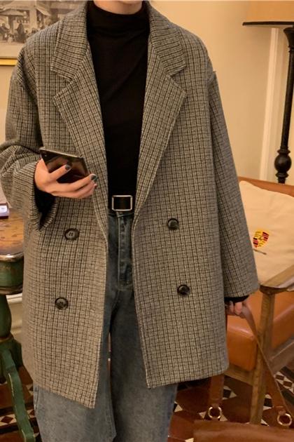 復古寬鬆格紋西裝外套*2色