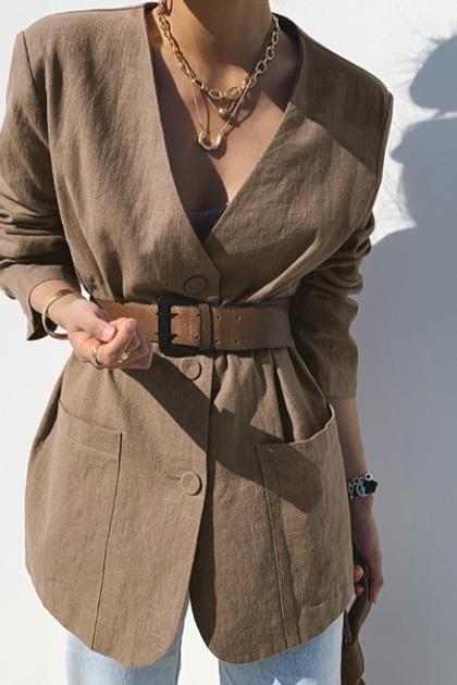 復古V領焦糖色棉麻西裝外套/附腰帶