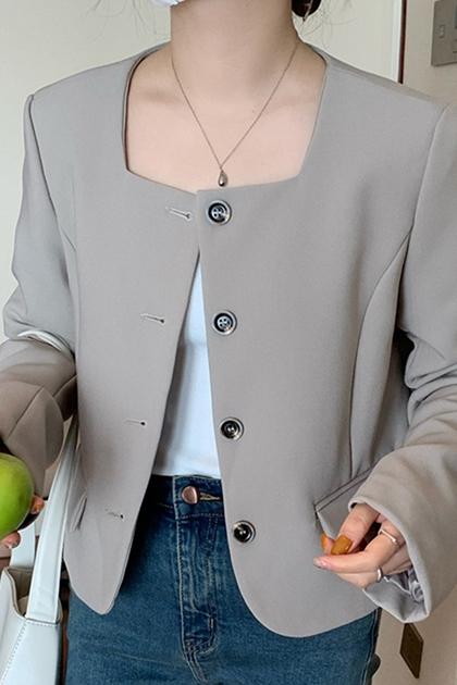 優雅方領西裝外套*2色