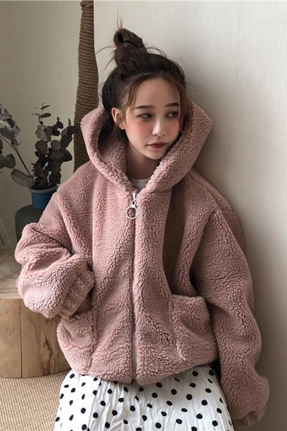 溫暖毛茸茸羊羔毛拉鍊連帽外套*2色