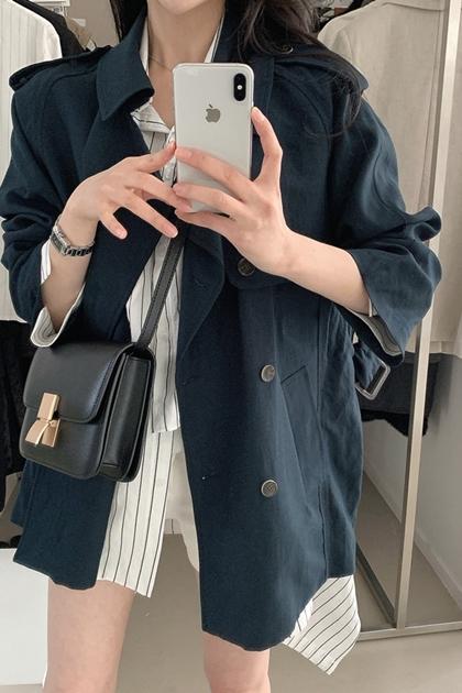 復古翻領雙排釦腰帶工裝外套*2色