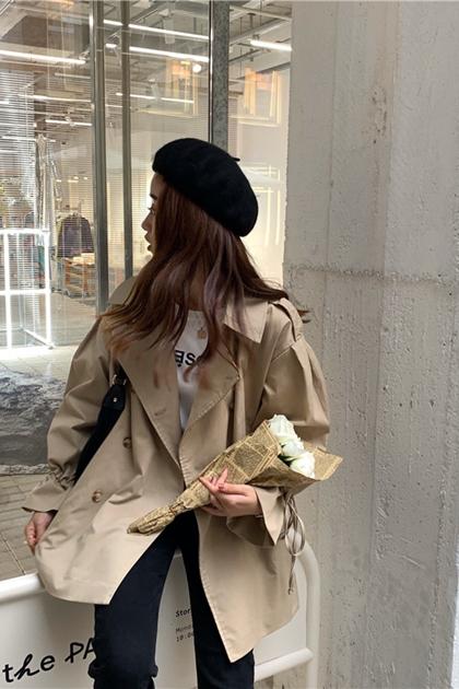 寬鬆翻領雙排釦袖綁帶大衣外套*2色