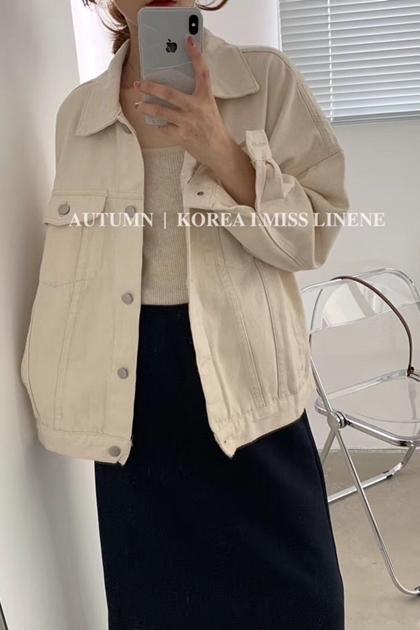 復古寬鬆剪裁雙口袋顯白淺色牛仔外套