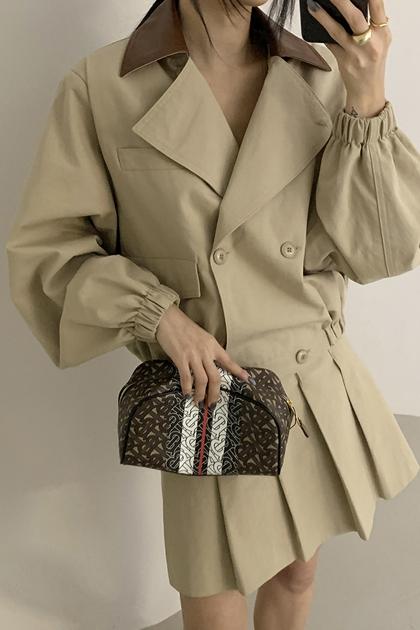 復古可愛束口袖拼色領短大衣外套*2色
