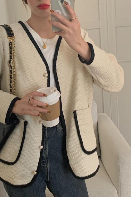 氣質小香風配色滾邊珍珠釦毛呢外套