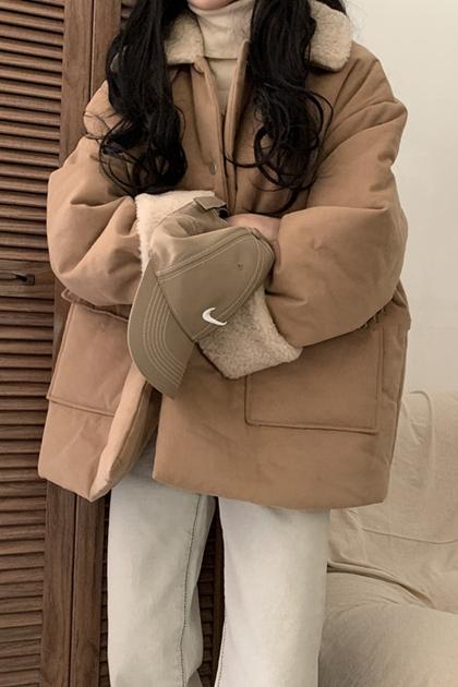 保暖加厚羊羔毛鋪棉外套*2色