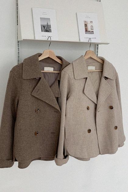 簡約氣質西裝領雙排扣寬鬆百搭長袖短款毛呢外套*2色
