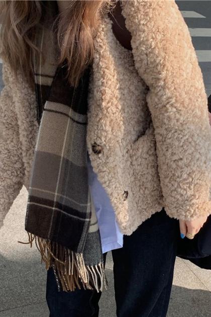 溫柔奶茶系羊羔毛保暖短大衣外套