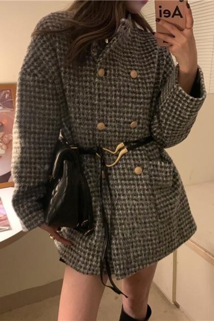 古著款格紋雙排釦短大衣
