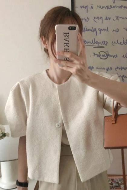 高級感泡泡袖無領粗紡外套*2色