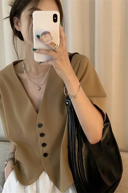 氣質設計感寬鬆顯瘦V領襯衫外套*2色SM