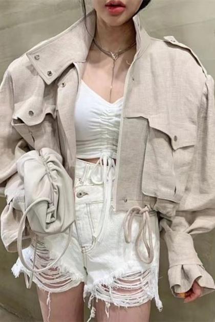 W立領工裝風口袋抽繩設計收腰短版夾克外套*2色