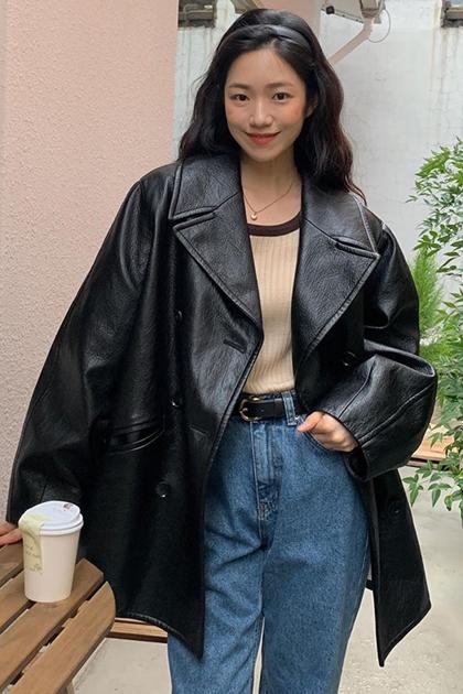 復古皮革西裝剪裁夾克外套