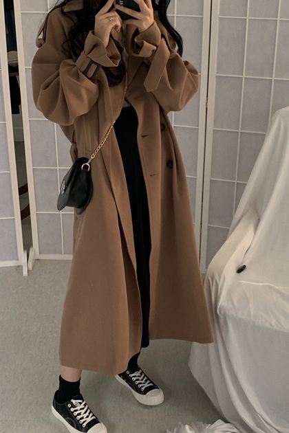 寬鬆雙排釦翻領腰綁帶大衣風衣外套*2色