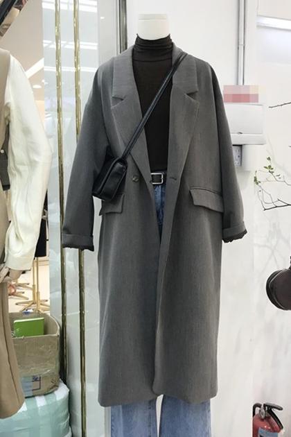 法式復古加長西裝大衣外套*2色
