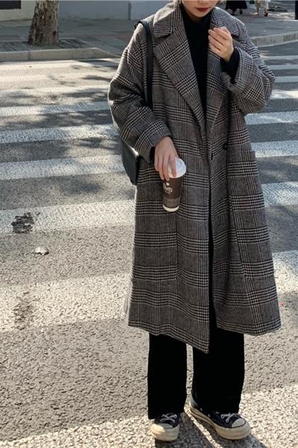 復古英倫格紋翻領大衣外套*黑灰