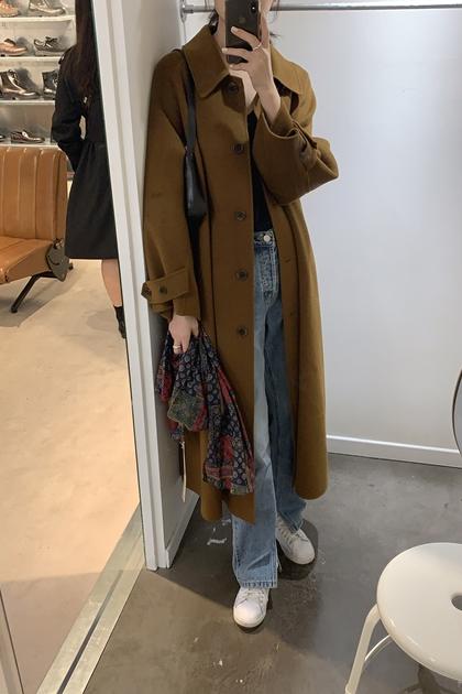 復古翻領焦糖色保暖腰綁帶毛呢大衣外套