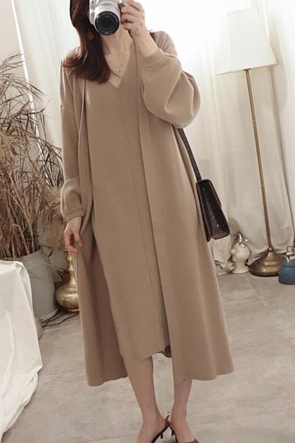 安哥拉絨燈籠袖針織長版開襟外套*3色