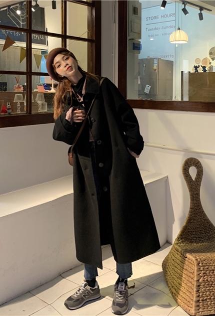 毛呢加長大衣外套*2色