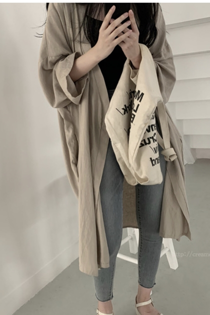 慵懶寬鬆遮陽防曬開襟加長罩衫外套*2色