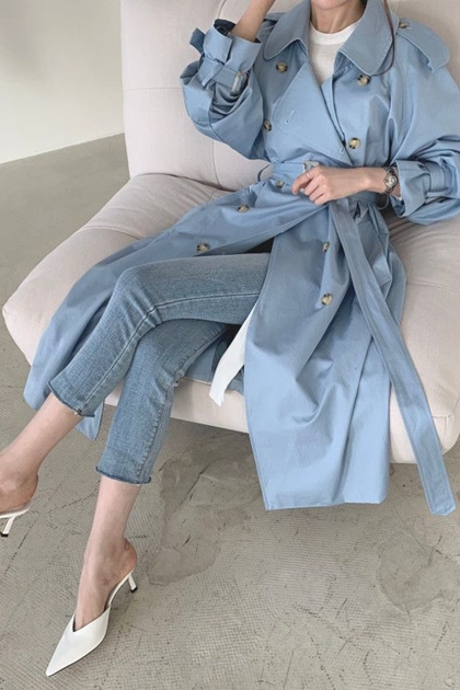 法式復古英倫風寬鬆腰綁帶後開衩開釦設計風衣長大衣外套*2色SM