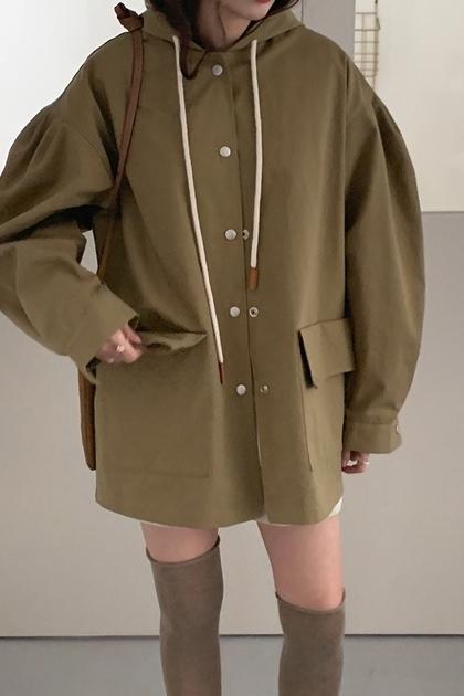 純色寬鬆泡泡袖抽繩工裝連帽風衣外套