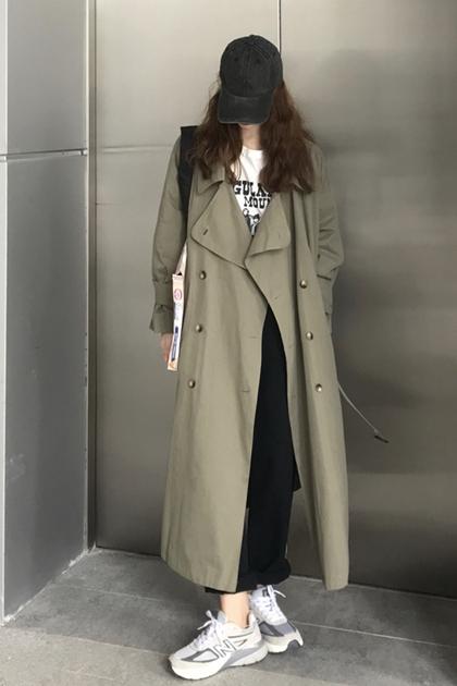 復古雙排扣加長風衣外套*2色