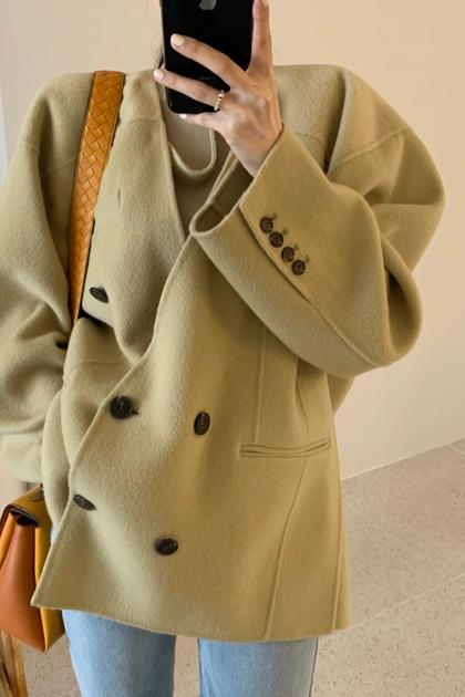 時尚百搭落肩袖雙排扣毛呢外套*2色