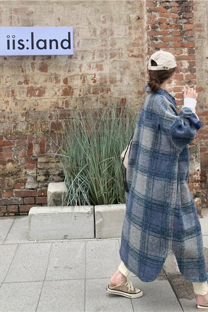 保暖毛呢格紋開釦長袖長版外套襯衫洋裝