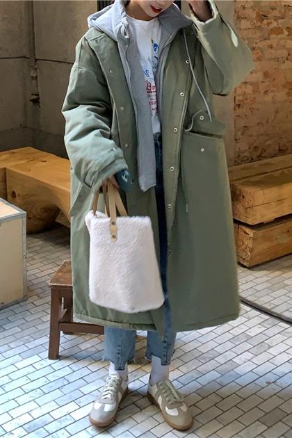 拼接連帽假兩件鋪棉長袖加長大衣外套*2色