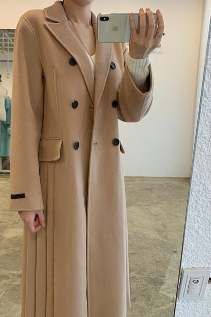 氣質西裝領雙排釦百摺拼接長版毛呢大衣外套*卡其