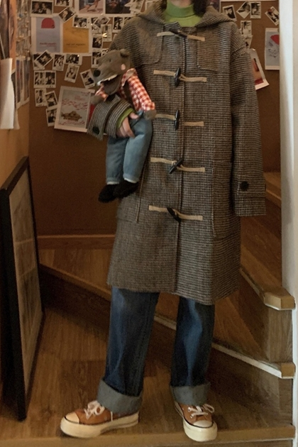 復古格紋牛角釦毛呢連帽大衣外套