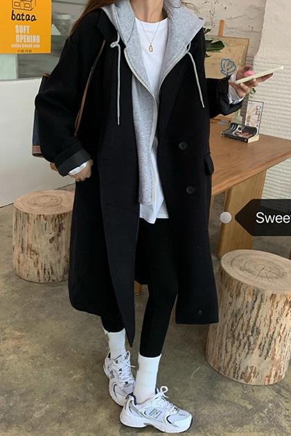 減齡假兩件式連帽毛尼西裝外套