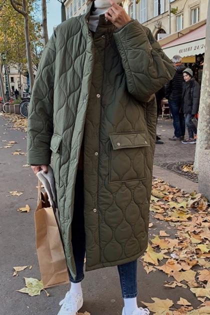 復古菱格壓紋保暖oversize長版加厚鋪棉外套*2色