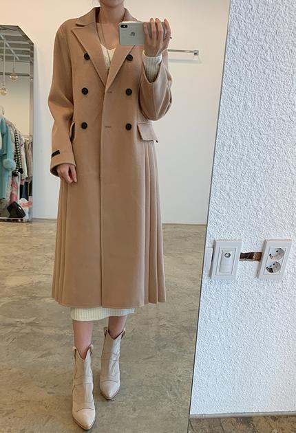 優雅氣質下擺百摺大衣外套洋裝