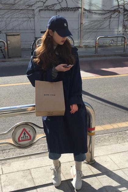 韓妞必備雙排釦腰綁帶長版大衣外套*2色SML